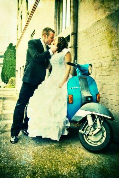 wedding transportation vespa blue