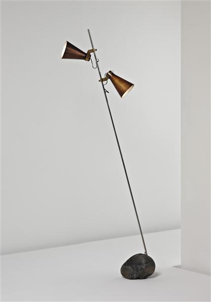 Luiga Caccia Dominoni, Brass, Steel and Stone Sasso Lamp for Azucena, 1948.