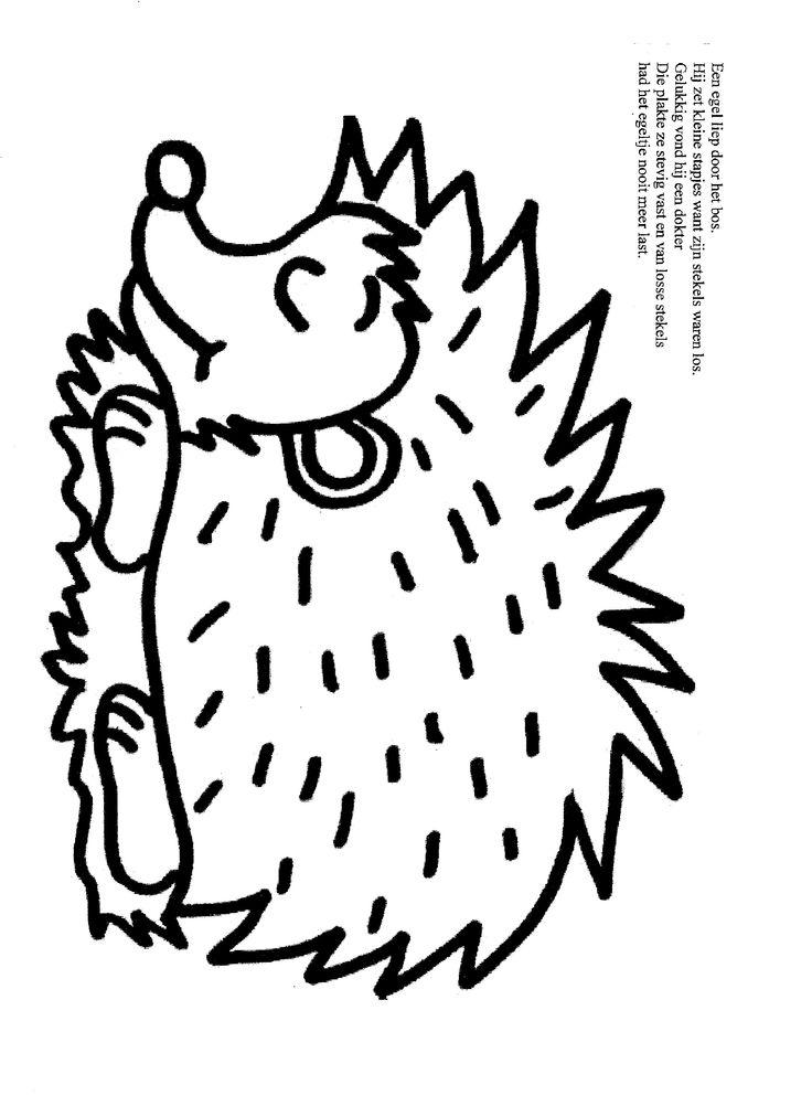 Lente Dieren Kleurplaat Versje Egeltje Losse Stekels Thema Herst Kabouter Bos