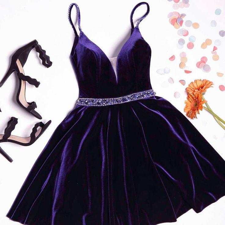 A-line Purple Velvet Crystal Short Homecoming Dresses,2017 Spaghetti