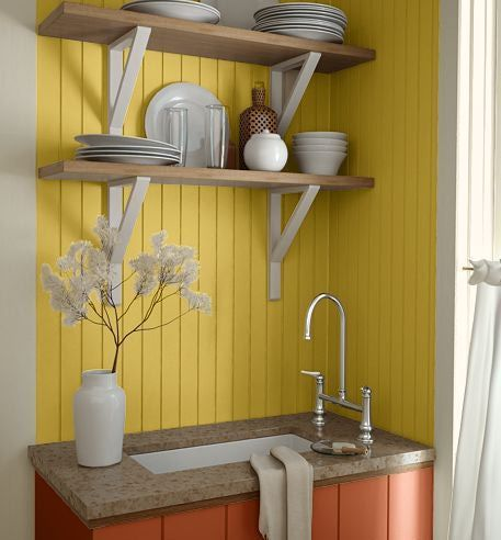 For the kitchen walls, painted white.