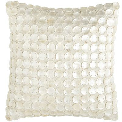 Sewn by hand, this natural cotton linen Mother-of-Pearl Disc Pillow is embellished with rows of mother-of-pearl discs for a shimmery look your lonely sofa, ...