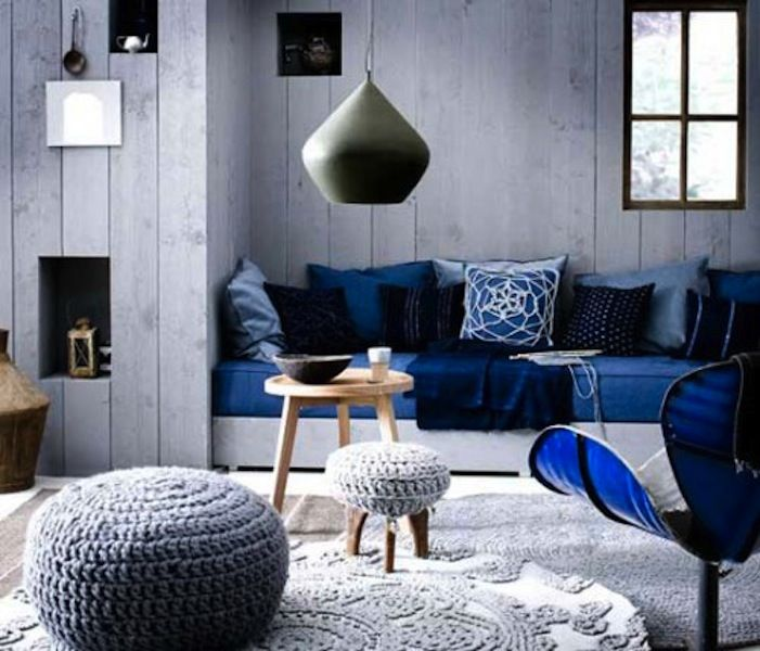 16 best blu color images on pinterest for the home home for Black and blue interior design