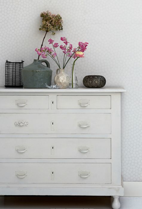 White chest of drawers  quietly beautiful