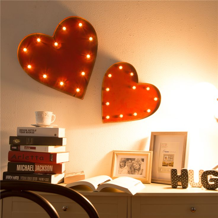 Love and hearts for your Mom on her special day! Glitzhome Marquee LED Lighted Heart Sign Battery Operated