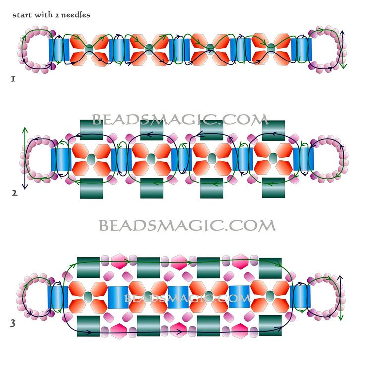 Beading Pattern For Seed Beads, Larger Beads And Bicones.