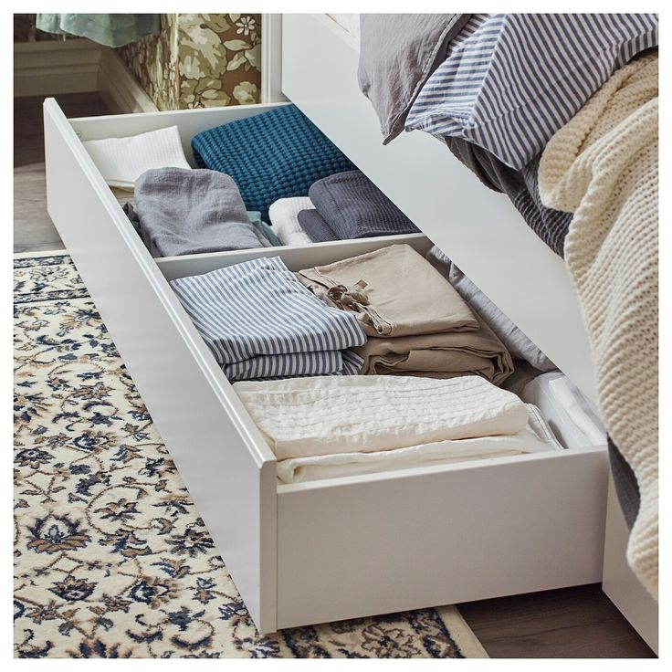 SONGESAND Bed frame with 4 storage boxes, white, Full