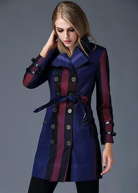 Ladies Fashion Plaid Double-Breasted High-Quality Trench Coat 3 Colors S-2XL