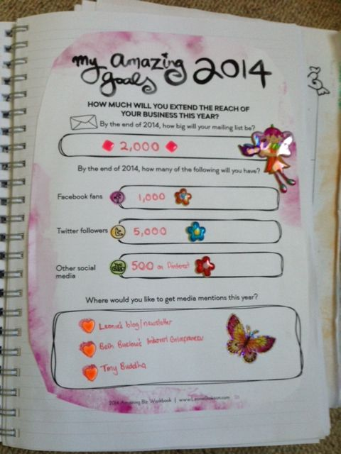 And lastly, my reach goals for 2014.  I did an awesome job of extending my reach in 2013 (my email list went from 280 -> 770; my FB fans from 150 -> 405; and my Twitter from 245 -> 3,295;  plus, I got onto Pinterest, finally!).  This year, I'm aiming to continue that growth!   (and again, the planner is from @Leonie Dawson :: LeonieDawson.com; and the link from the Pin is an aff one!)