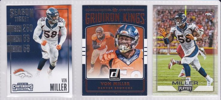 Denver Broncos Von Miller 3 Trading Card Lot Gridiron Kings Playoffs Panini #DenverBroncos