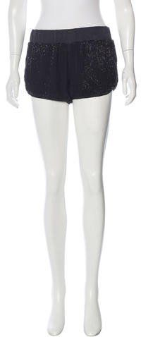 L'Agence Silk Embellished Shorts
