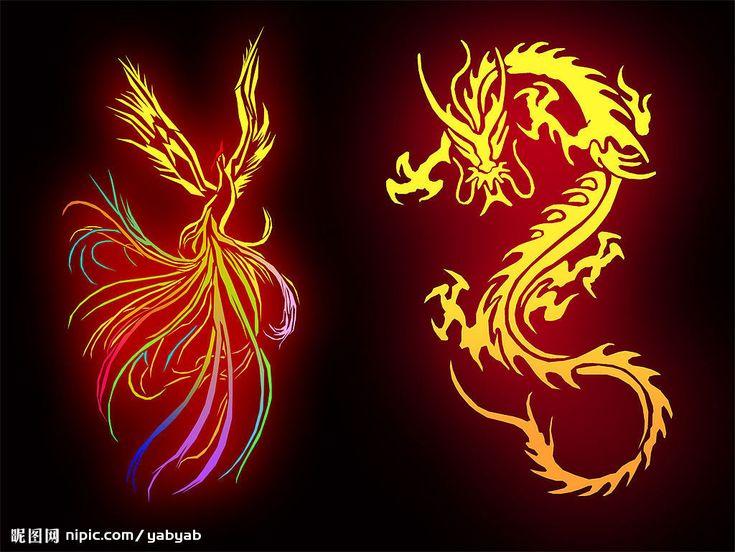 дизайн, феникс с драконом в картинках наводится