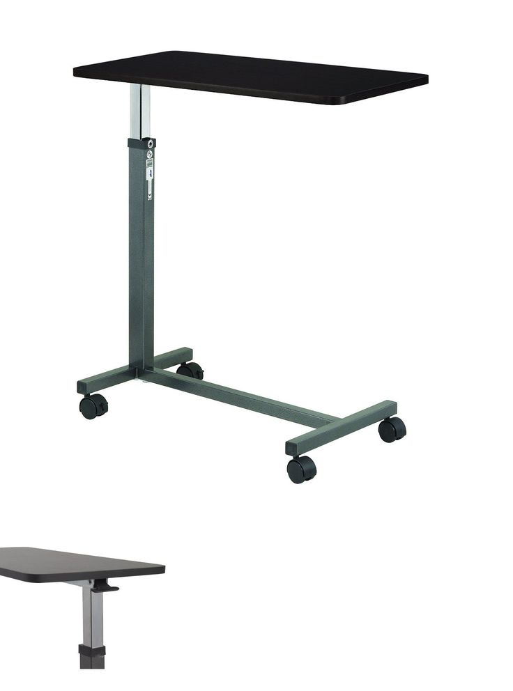 Bed and Chair Tables: Over The Bed Table With Wheels Computer For Hospital Tray Adjustable Laptop Desk BUY IT NOW ONLY: $75.99
