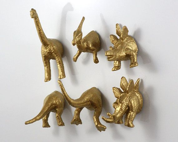 Dinosaur 6 pack Gold Magnets  Wedding by OriginalAnimalMagnet, $17.50