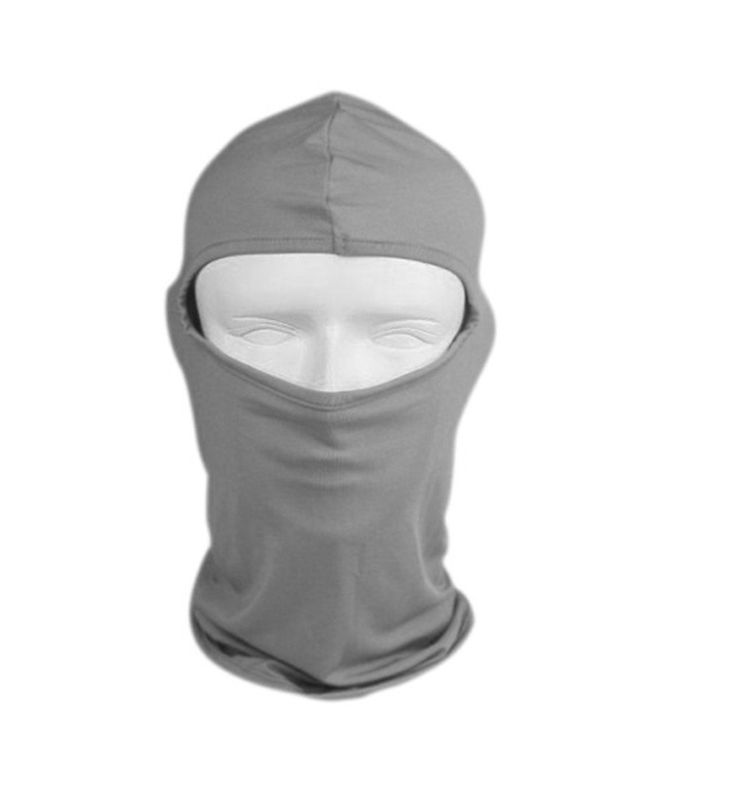 Motorcycle Cycling lycra Balaclava Full Face Mask For Sun UV Protection - Light Gray. Material:lycra. Dimension:45 x 25 cm(L x W). Head circumference:48 - 58 cm. Eyes width:6 cm. Eyes to bottom:26 cm.