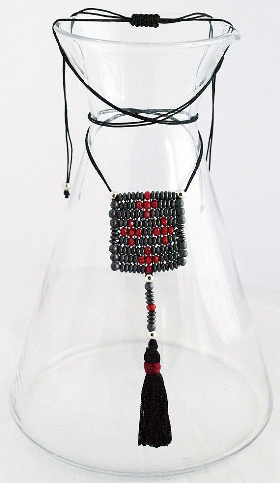 Beaded Charm Necklace_Hematite & Red Crosses by Fragkiski on Etsy