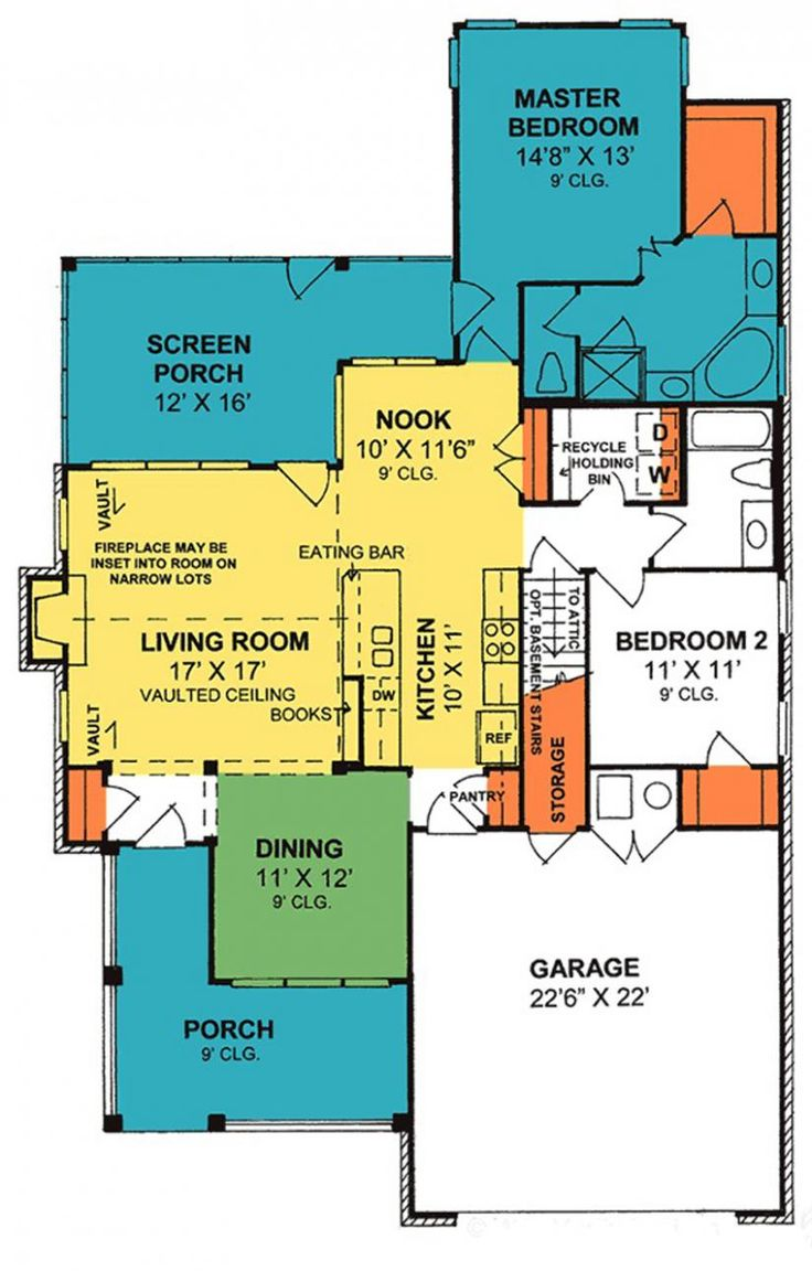111 best home plans images on pinterest home plans small house 655932 cozy 2 bedroom 2 bath cottage with split floor plan and attic