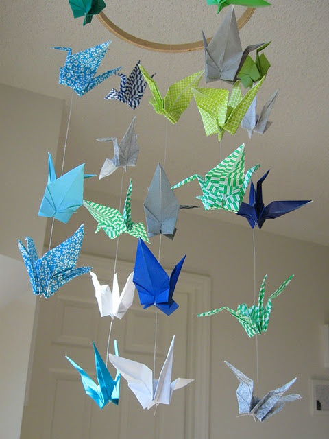 This paper crane mobile is even in my color scheme! LOVE!