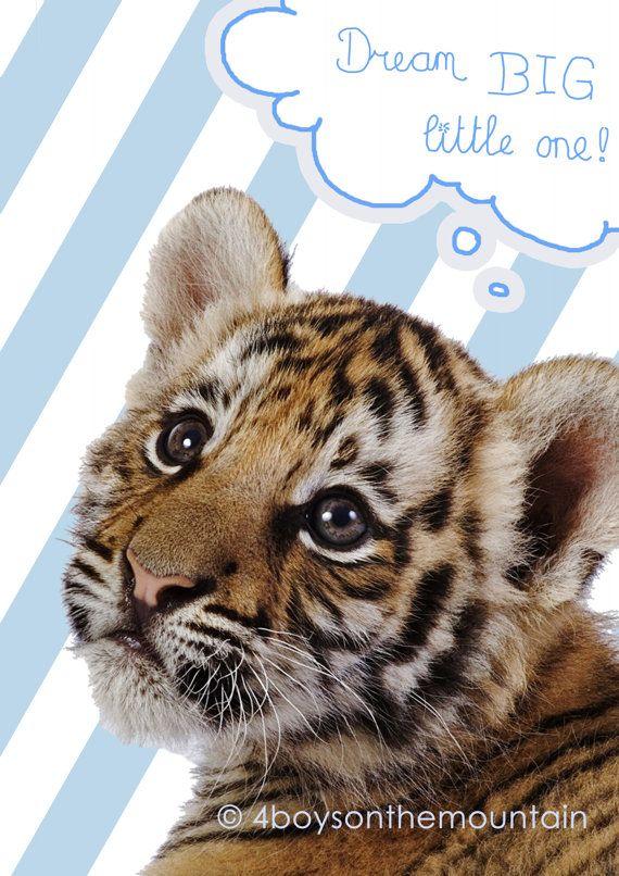 "Wall Art Baby Tiger Quote ""dream BIG little one"" so sweet in a nursery room! von 4BoysontheMountain"