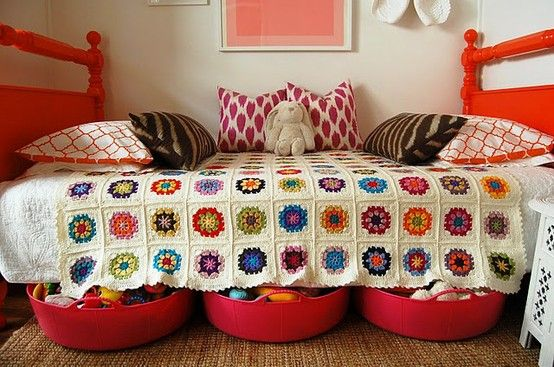 Love the crochet blanket...but the idea of 3 big bins under the bed....wonderful!!! I'm headed to Target for bins right now!!! :)