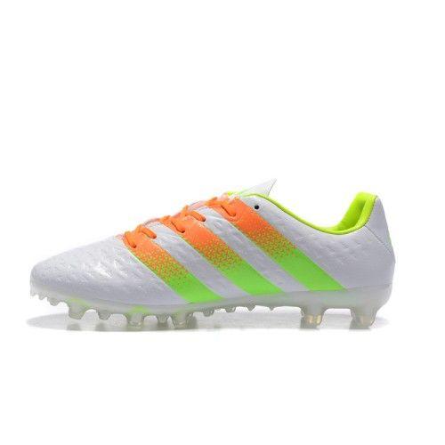 Salg Adidas ACE Fodboldstøvler - Bedst Adidas ACE 16.1 FG AG Hvid Orange  Gron Fodboldstovler