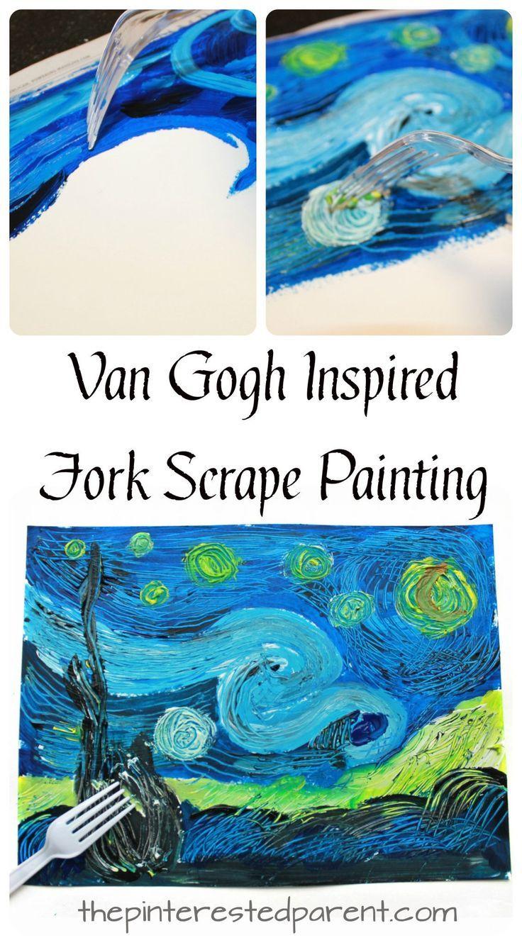 Van Gogh inspirierte Gabelkratzer bemalte The Starry Night. Kunst und Malerei projek