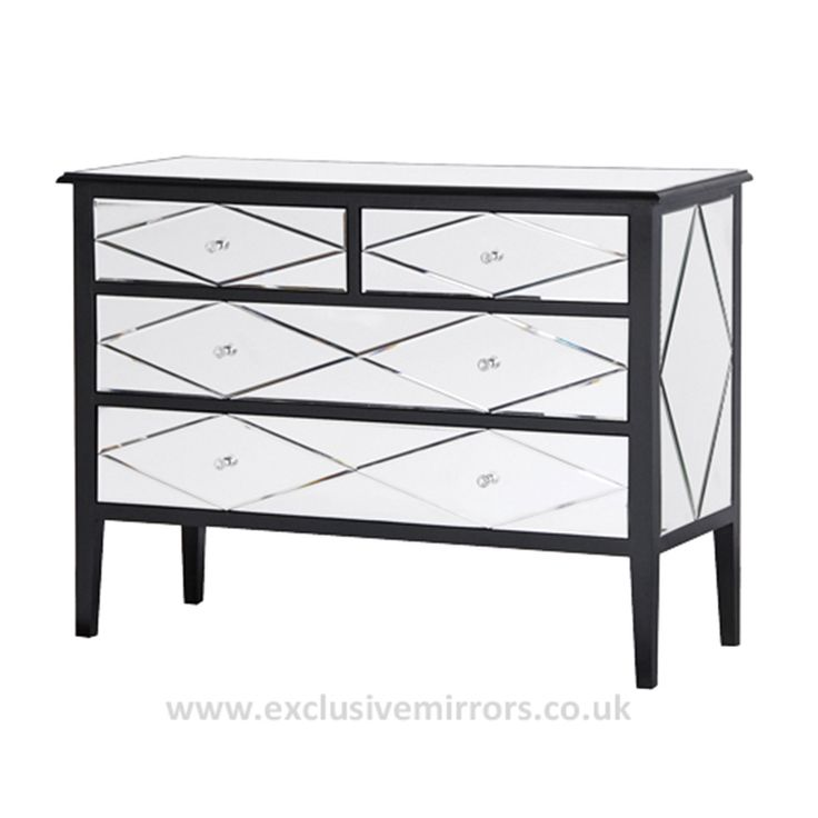 Cleopatra Mirrored 2 2 Chest Of Drawers 45 X 114 X 85 Cm Mirrored Furniturefrench Furniturebedroom