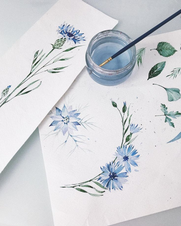Blue Watercolor Flowers Watercolorarts Mit Bildern Aquarell