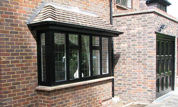 Black Casement Windows   Black Bay Aluminium Casement Window with Rectangular Lead