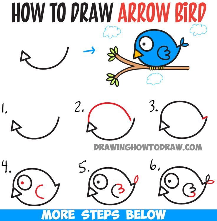 How to Draw Cute Cartoon Bird Illustration from Arrow Shape - Easy Tutorial for…