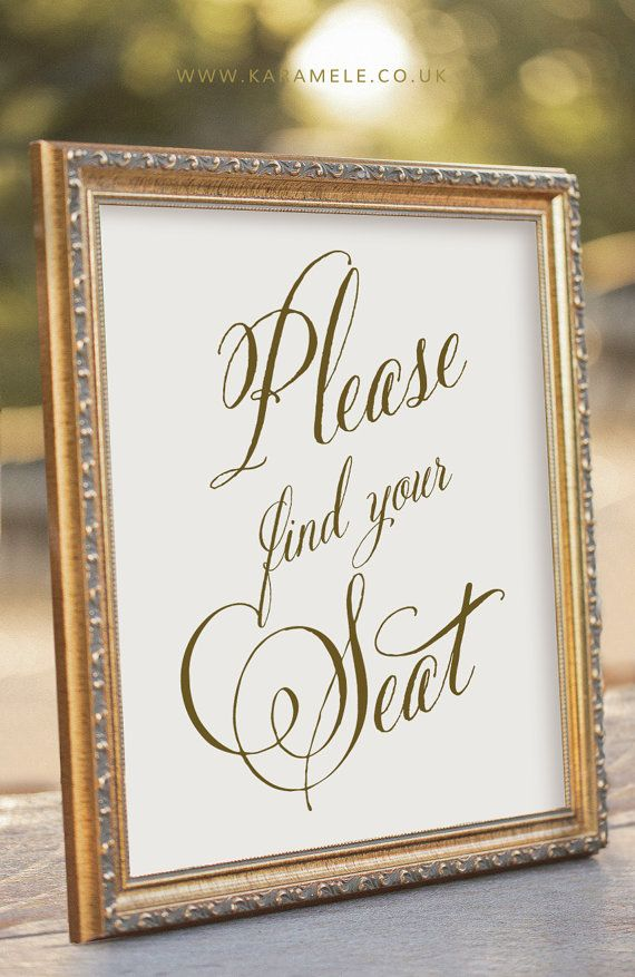 Please find your seat Sign  Wedding Reception Sign by KarameleShop