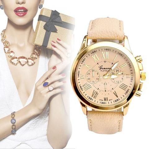 Fashion New Women Leather Band Stainless Steel Quartz Analog Wrist Watch - MaLyMoR