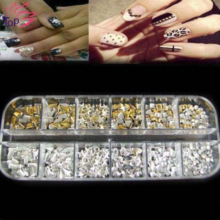 Rectangular Box Shiny Gold Silver 3D Nails Rivet Tips Glitter Nail Art Studs Decorations ZP062