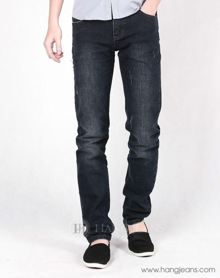 Hằng Jeans - Quần jeans mài màu chì sành điệu 9608