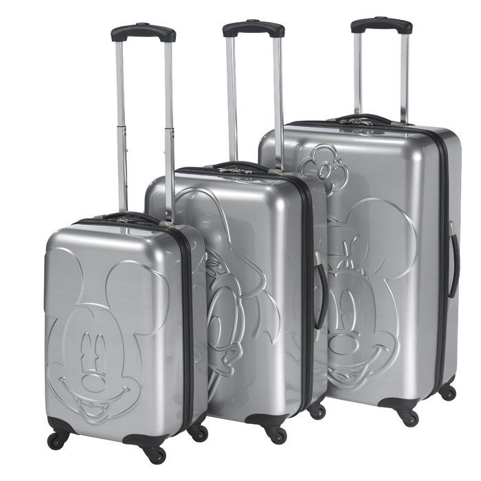 disney by heys mickey and friends embossed faces 3 piece spinner luggage set