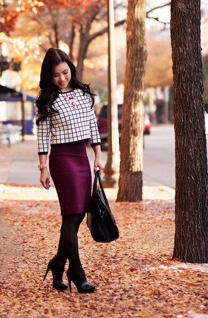 14 best Burgundy Pencil Skirt Outfit Ideas images on Pinterest