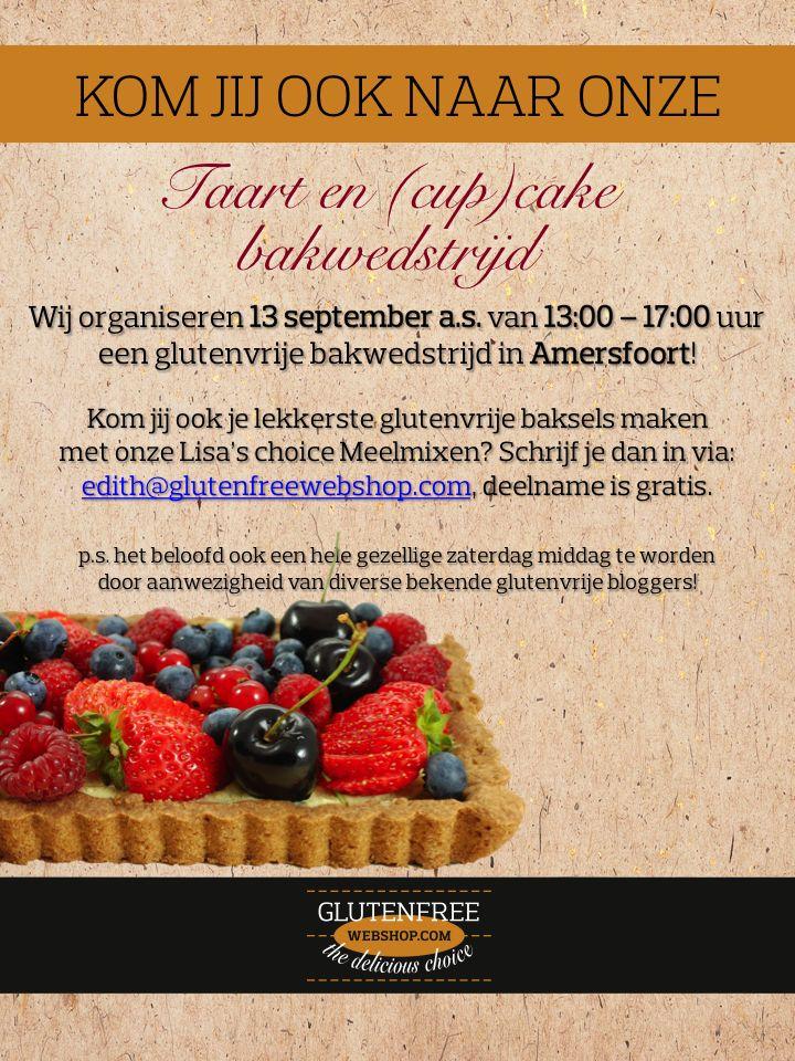 Er is nog steeds tijd om je in te schrijven voor onze #glutenvrije #bakwedstrijd 13 september a.s. in Amersfoort!  Kom jij ook je lekkerste taart of (cup)cake bakken? Schrijf je dan snel in via: eepurl.com/2nmgn