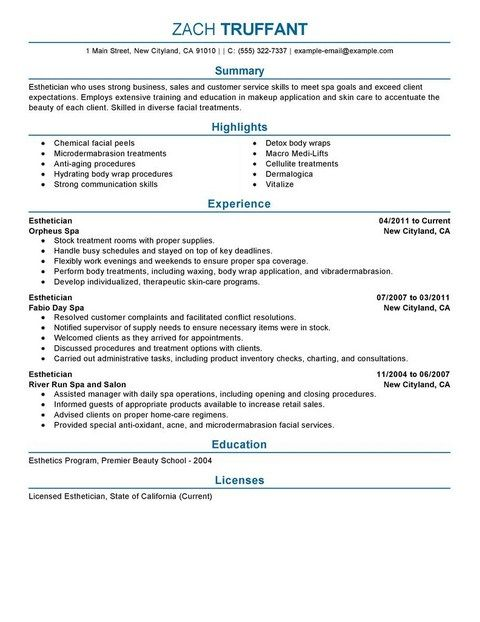 Esthetician Resume Samples 2013