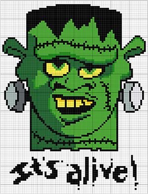 Oh no, it's alive! :D Frankenstein monster cross stitch pattern available on etsy ;) #crossstitch #pattern #embroidery #frankenstein #horrormovies #monster #scary #creepy #zombie #funny #diy