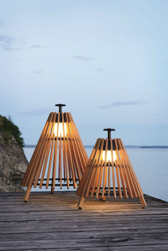 Teak floor lamp: TIPI by Mårten Cyrén, Gustav Cyrén for Skargaarden design. | Find incredible Outdoor floor lamps to use in a deck or patio - click here http://modernfloorlamps.net/outdoor-floor-lamps-use-deck-patio/