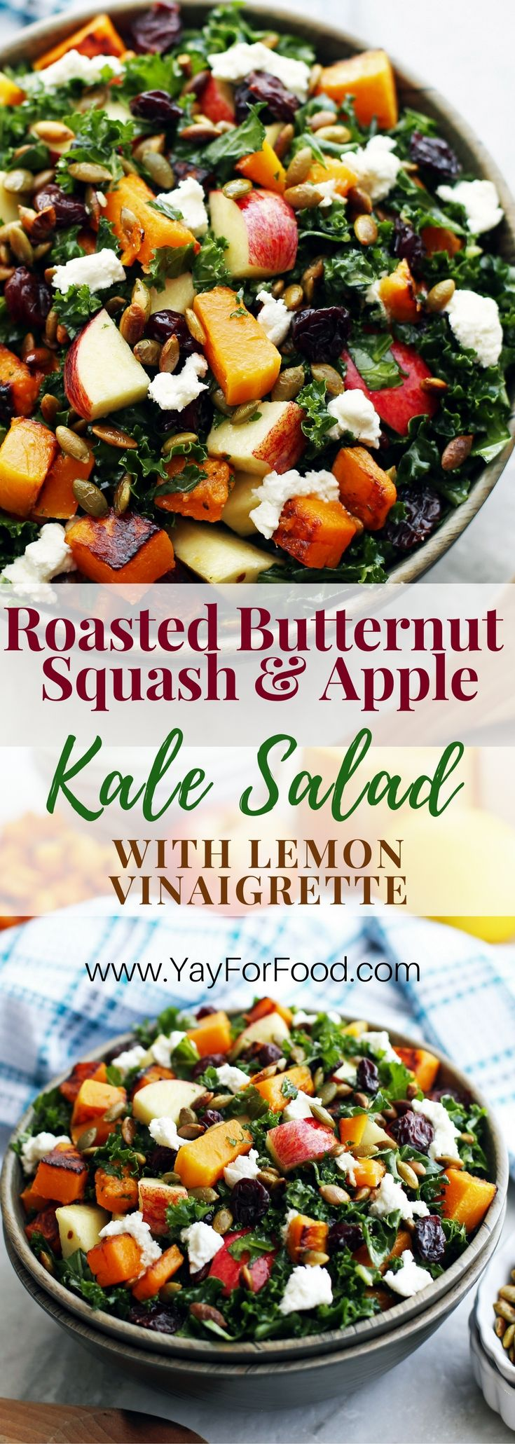A delicious and healthy fall harvest salad! This colourful vegetarian salad is filling enough to be a meal and features roasted butternut squash, toasted pumpkin seeds, massaged kale, and a quick homemade lemon dressing! Appetizer | Side Dish | Vegetarian | Kale Salad | Fall Salads | Homemade Dressing | Vinaigrette