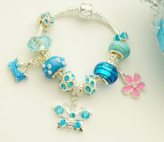 european bracelet with charms crystal butterfly by JewlsGifts