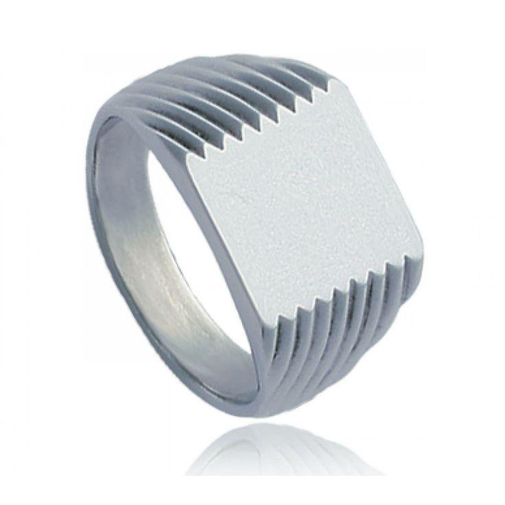 Men stainless steel Naxos square signet rings