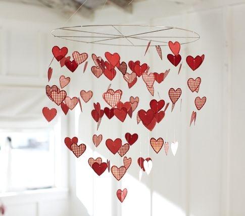 Paper heart chandelierIdeas, Valentine Day, Paper Hearts, Heart Chandeliers, Heart Mobiles, Pottery Barns Kids, Kids Decor, Valentine Decor, Crafts