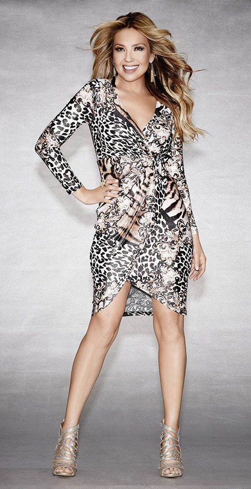 Thalia Sodi Printed Surplice Wrap Dress
