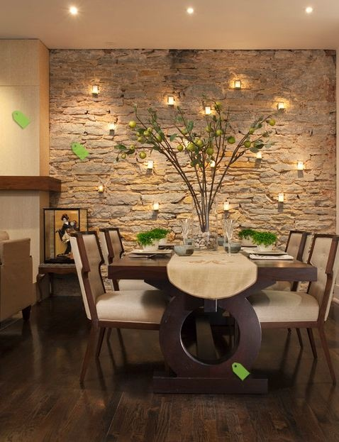 Votive Candles on Stone Wall new house