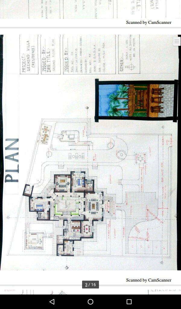 Architectural Plan Of Residential Villa Ground Floor Plan By Soft Pestal Coloured Rendered Plan With Sheet Format A How To Plan Ground Floor Plan Villa Design