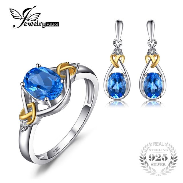 Best Price $63.99, Buy Jewelrypalace Love Knot 18K Gold Aside Natural Blue Topaz Diamond 925 Sterling Silver Jewelry Set Fine Jewelry Earring Ring