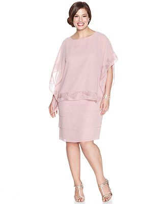 Le Bos Plus Size Chiffon Tiered Dress And Capelet