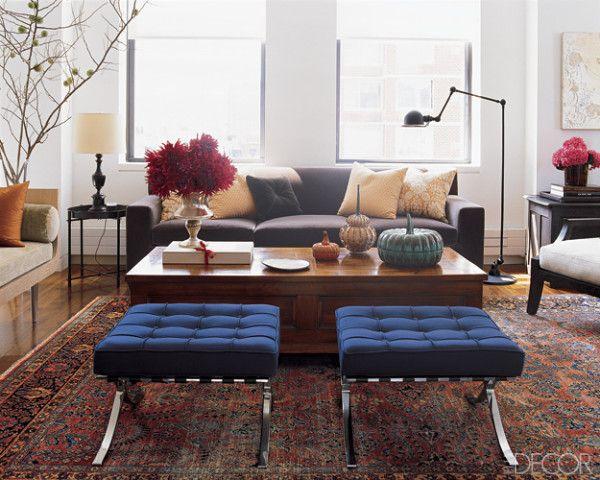 barcelona stools living room by Peter Pawlak for Lisa Pomerantz via Elle Decor